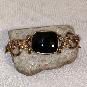 Barse Brass Onyx Link Bracelet